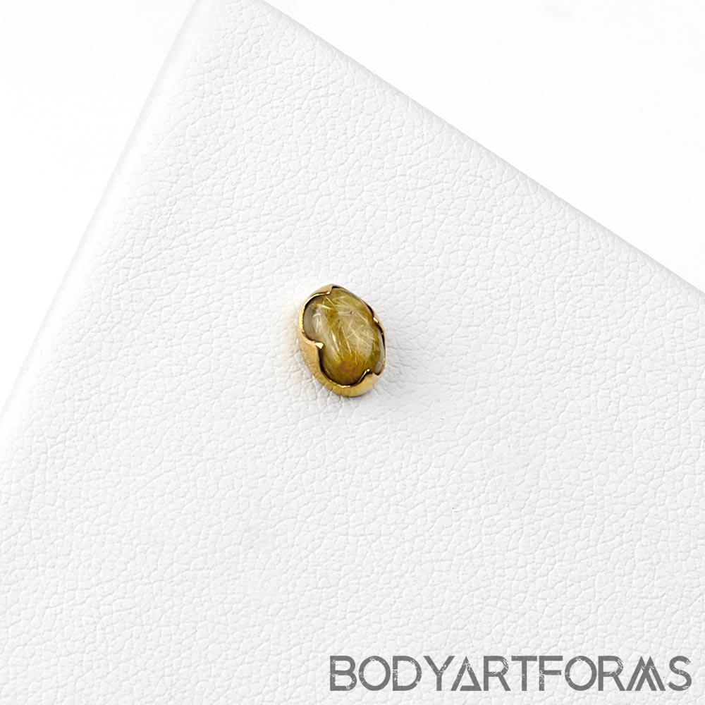 18k Gold Oval Threadless End with Rutilated Quartz