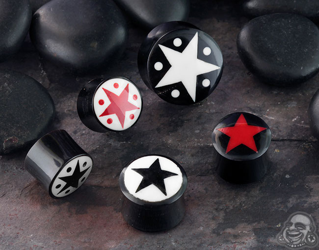 Black Horn Plugs with Star Inlay