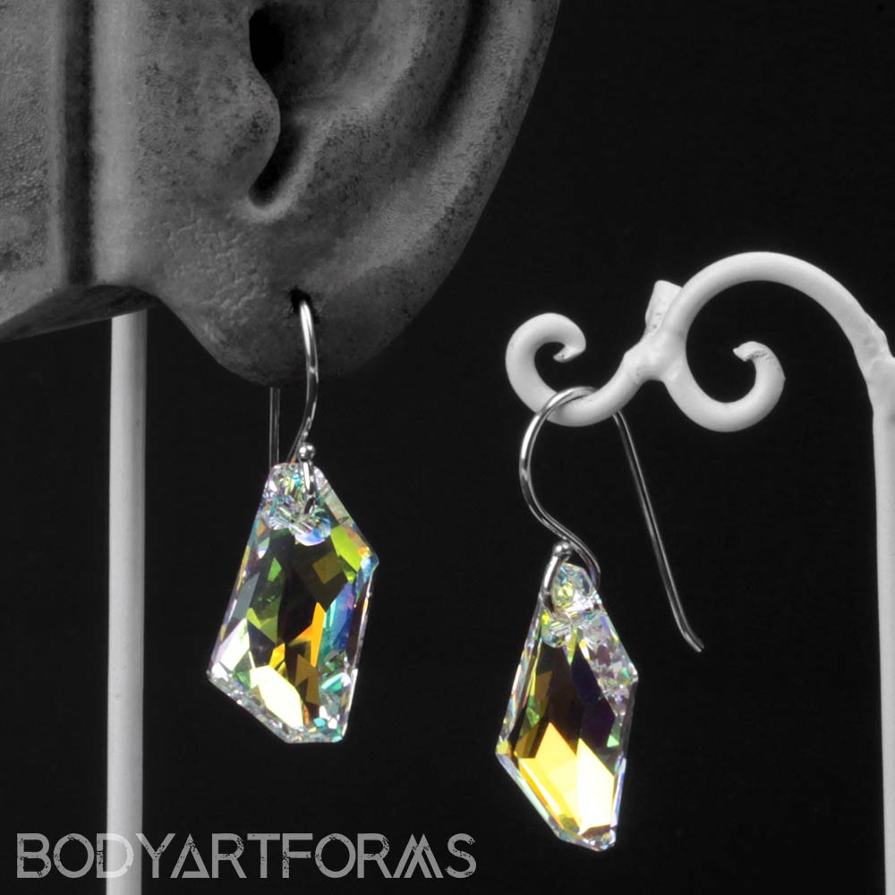 Sterling Silver and AB Crystal Earrings