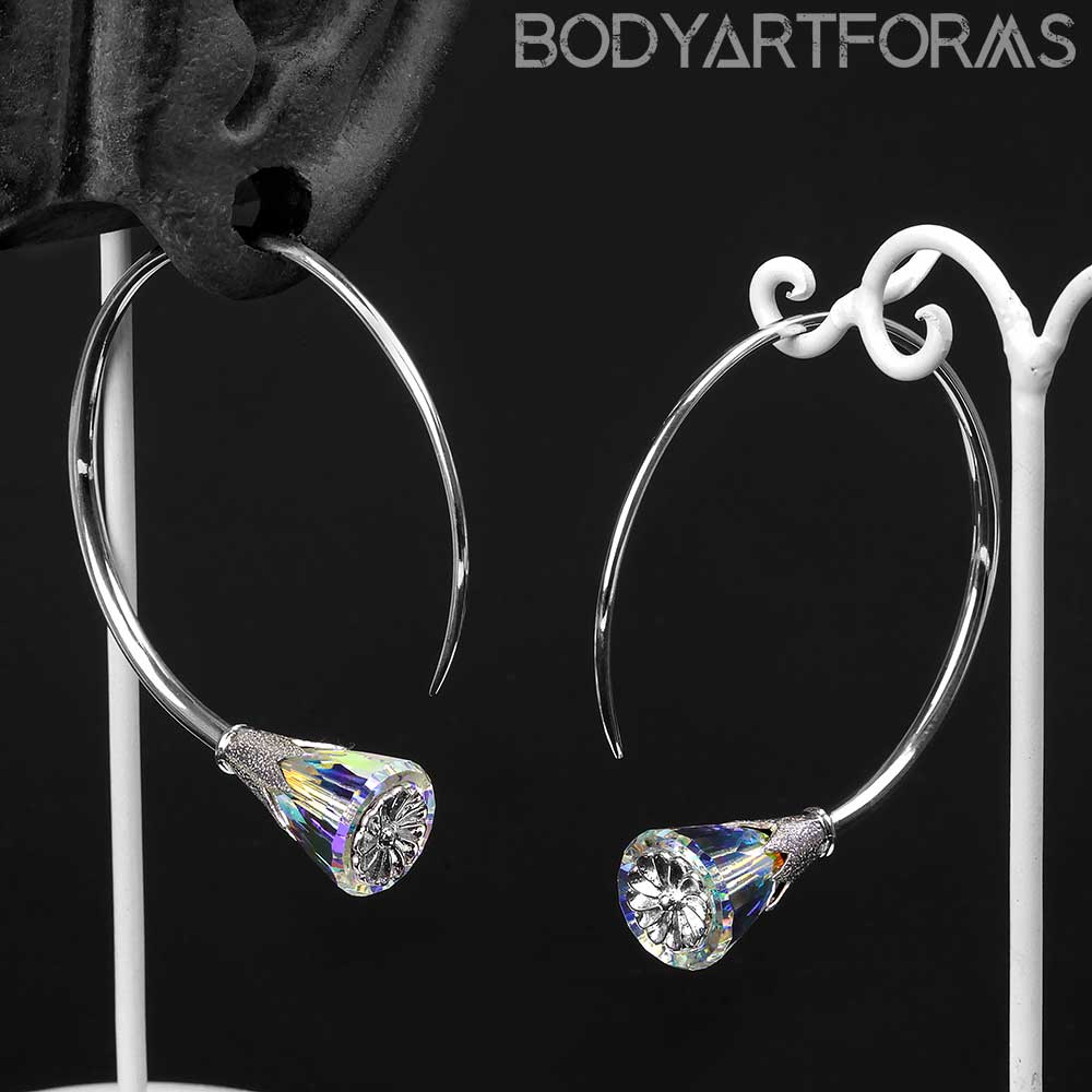 Sterling Silver Tsabit Design with AB Glass Flowers