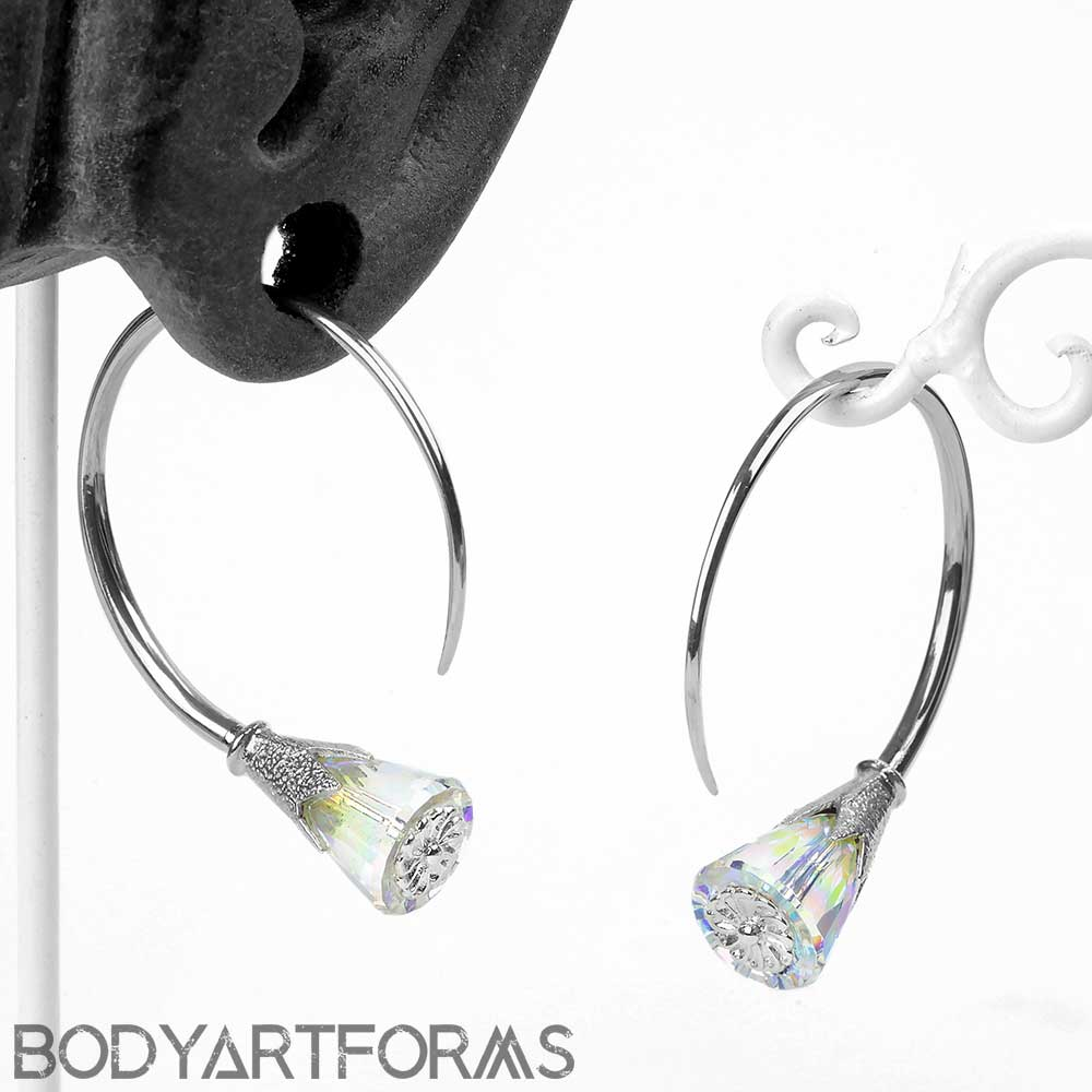 Silver Tsabit Design with AB Glass Flowers