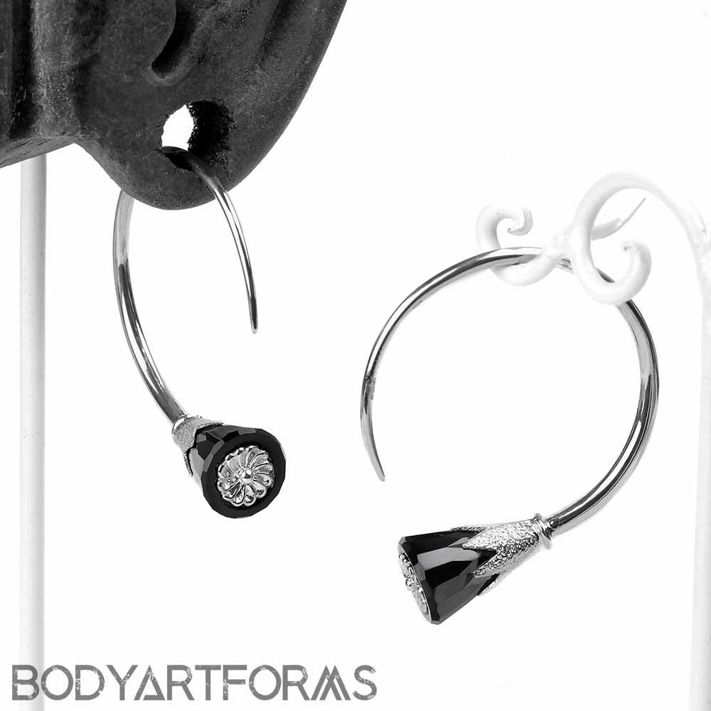 Sterling Silver Tsabit Design with Black Glass Flowers