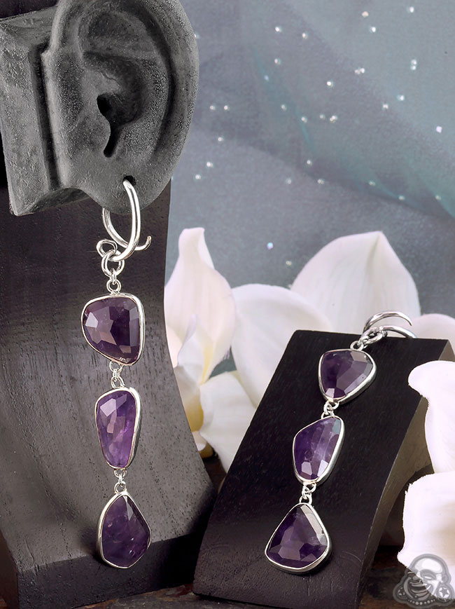 Silver and Free Form Amethyst Weights