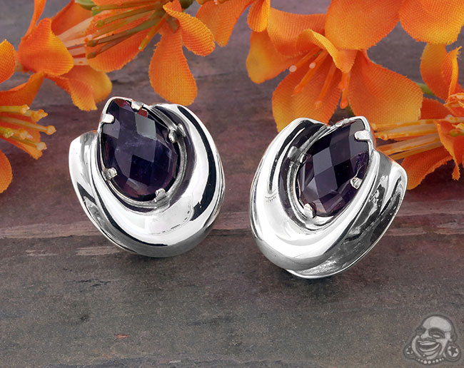 Sterling Silver Saddles with Amethyst