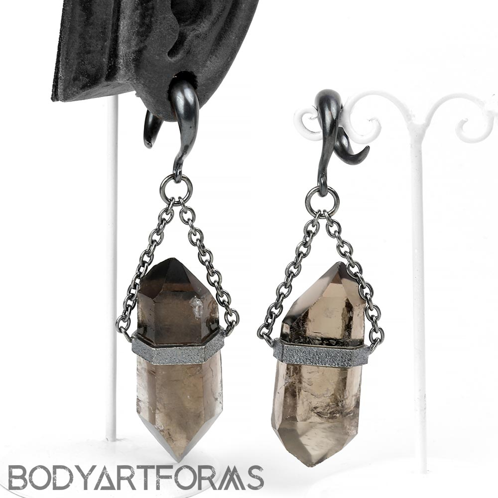 Oxidized Silver and Smoky Quartz Crystal Dangle Weights