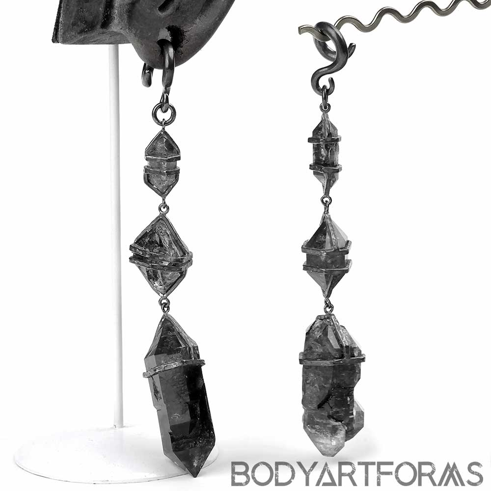 Oxidized Silver and Tibetan Quartz Dangle Weights
