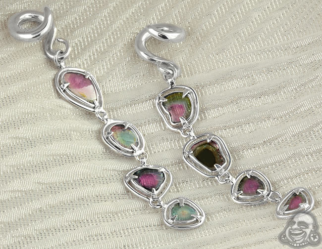 Silver and Watermelon Tourmaline Weights