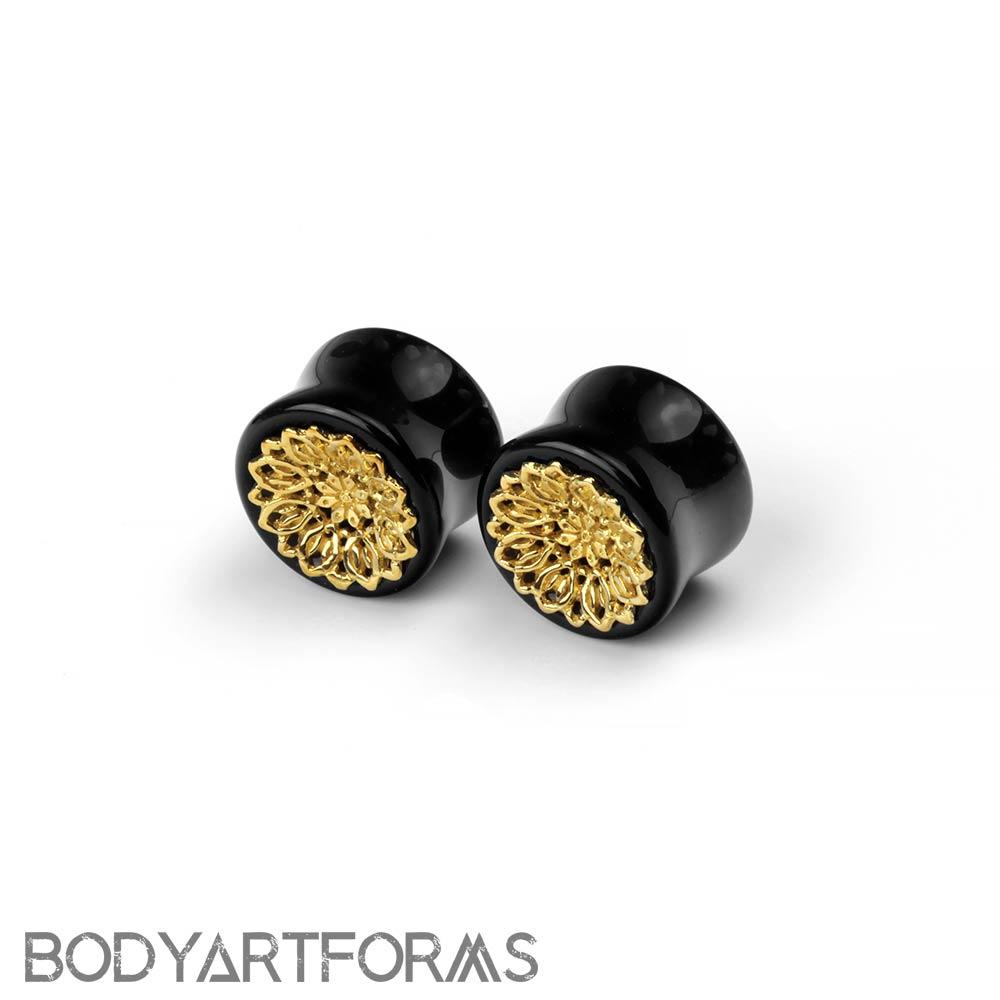 Black Obsidian Plugs with Brass Mandala
