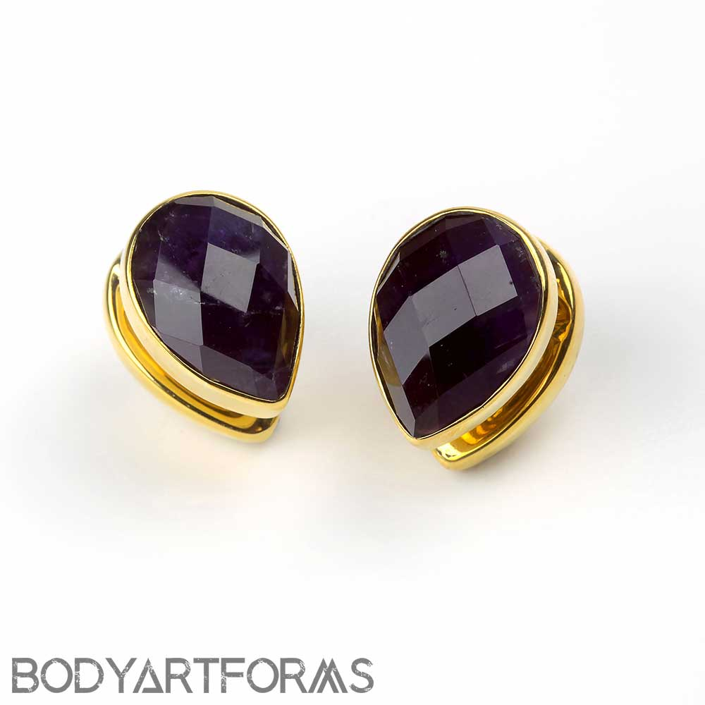Solid Brass Spade Weights with Faceted Amethyst