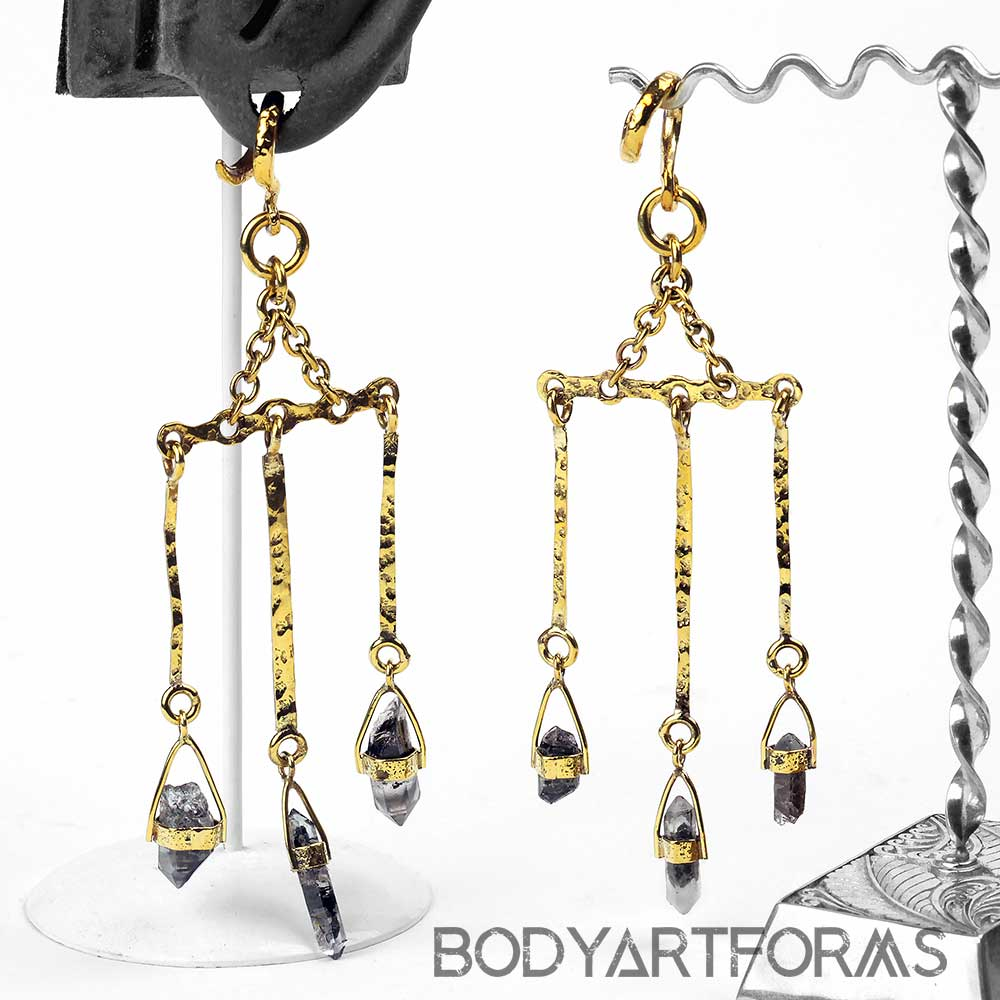 Brass and Tibetan Quartz Dangle Weights