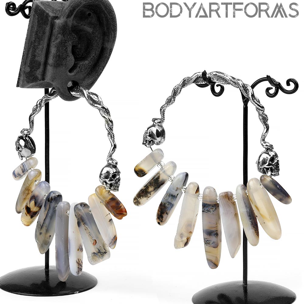 Solid White Brass and Agate Crystal Medusa Hoops