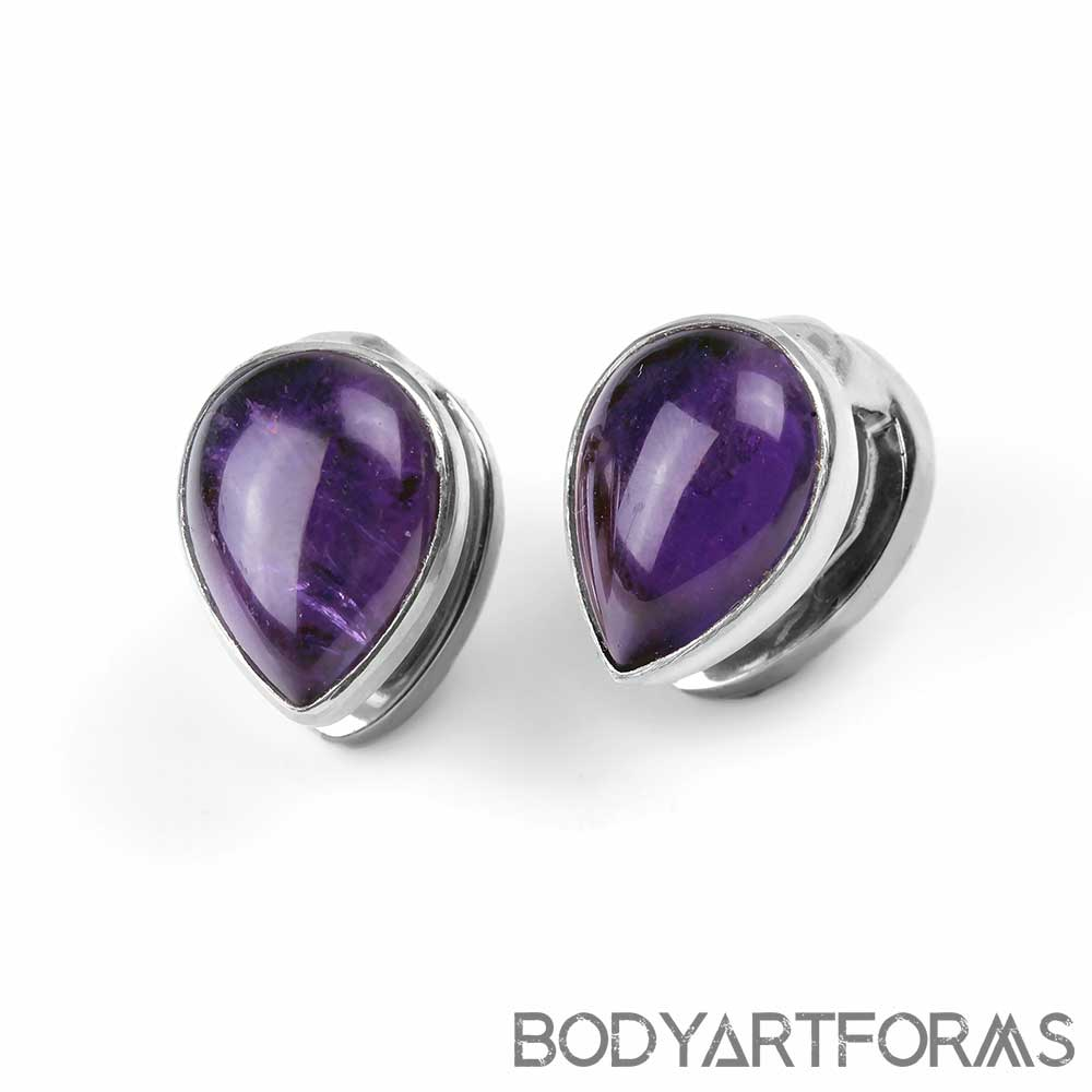 Solid White Brass Mini Spade Weights with Amethyst