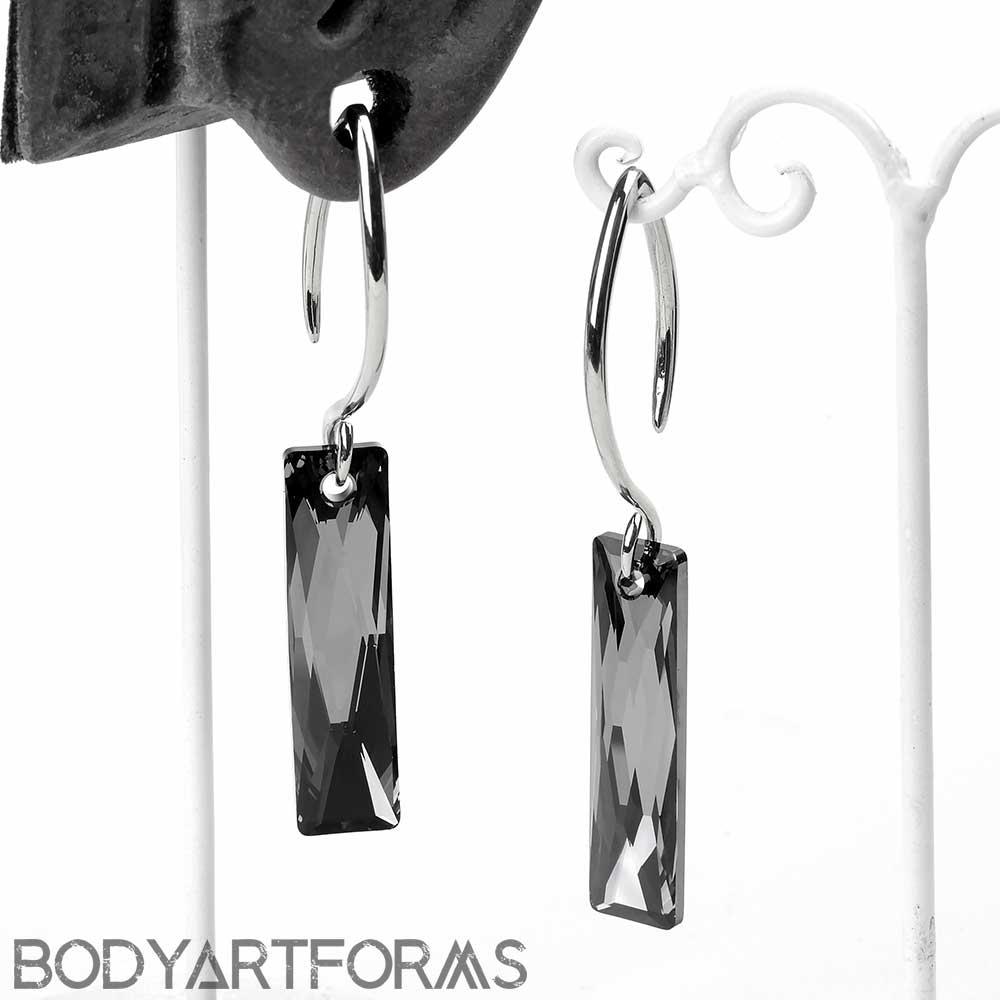 Swarovski Black Crystalcitite Design with White Brass Hooks