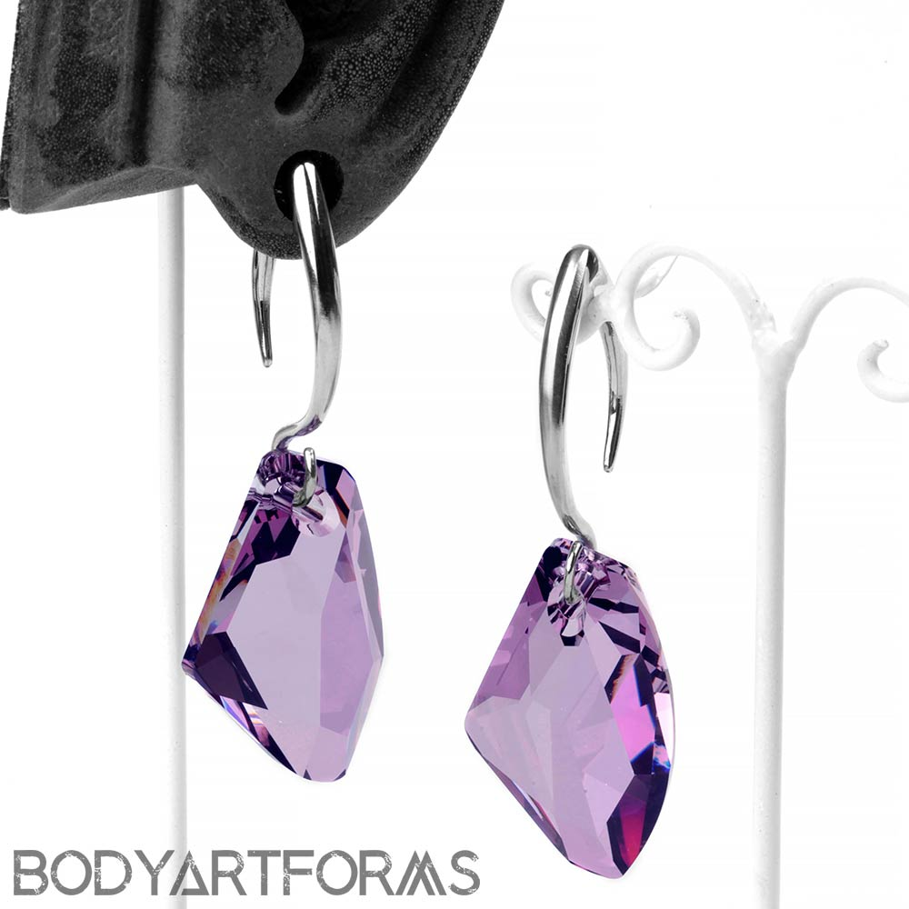 Purple Swarovski Design with White Brass Hooks