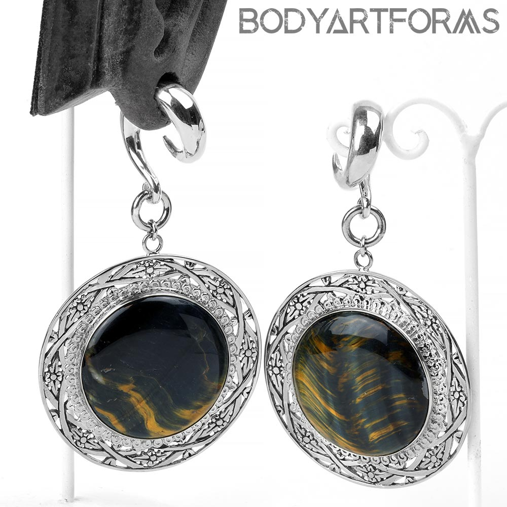 White Brass and Blue Tiger Eye Medallion Weights