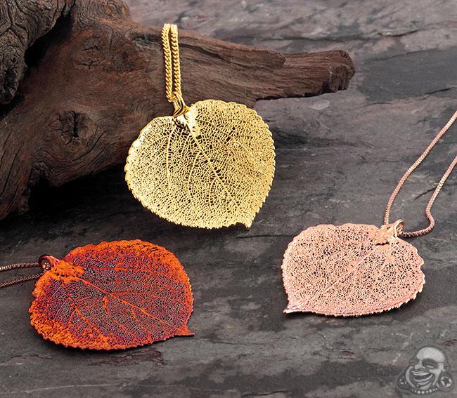 Electroplated Aspen Leaf Necklace