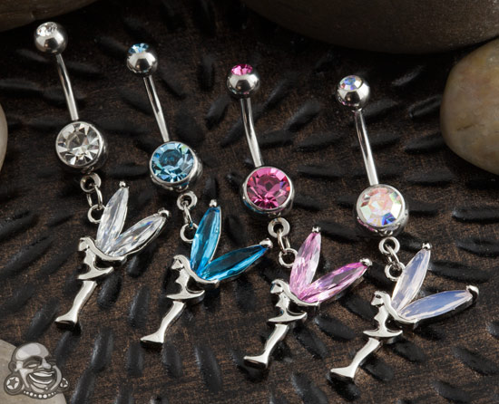 Fairy with Gem Wings Dangle Navel