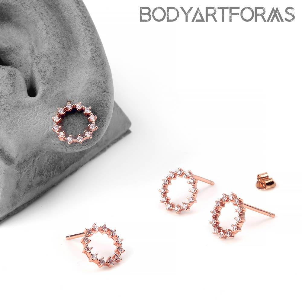 Gemmed Halo Stud Earrings