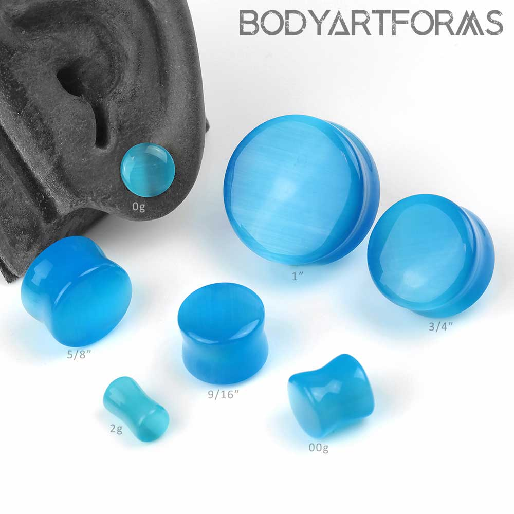 Blue Glass Cat Eye Plug