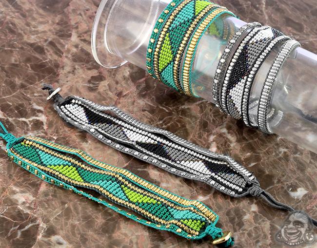 Beaded Pattern Triple Band Bracelet