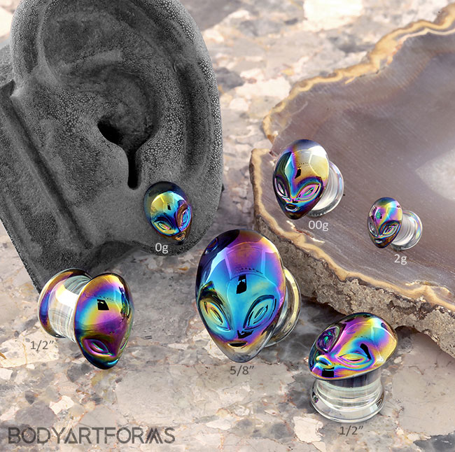 Glass Rainbow Alien Plugs