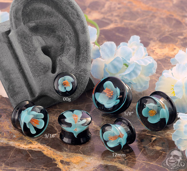 Glass Blue Flower Plugs