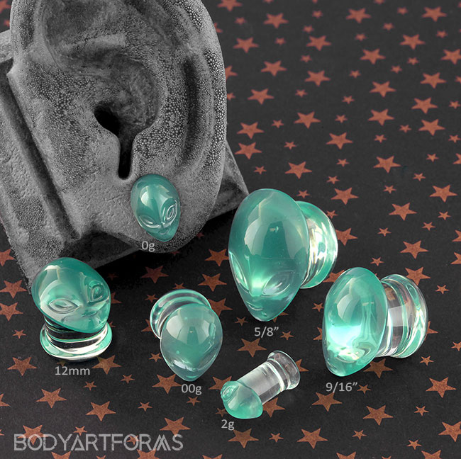 Glass Green Alien Plugs