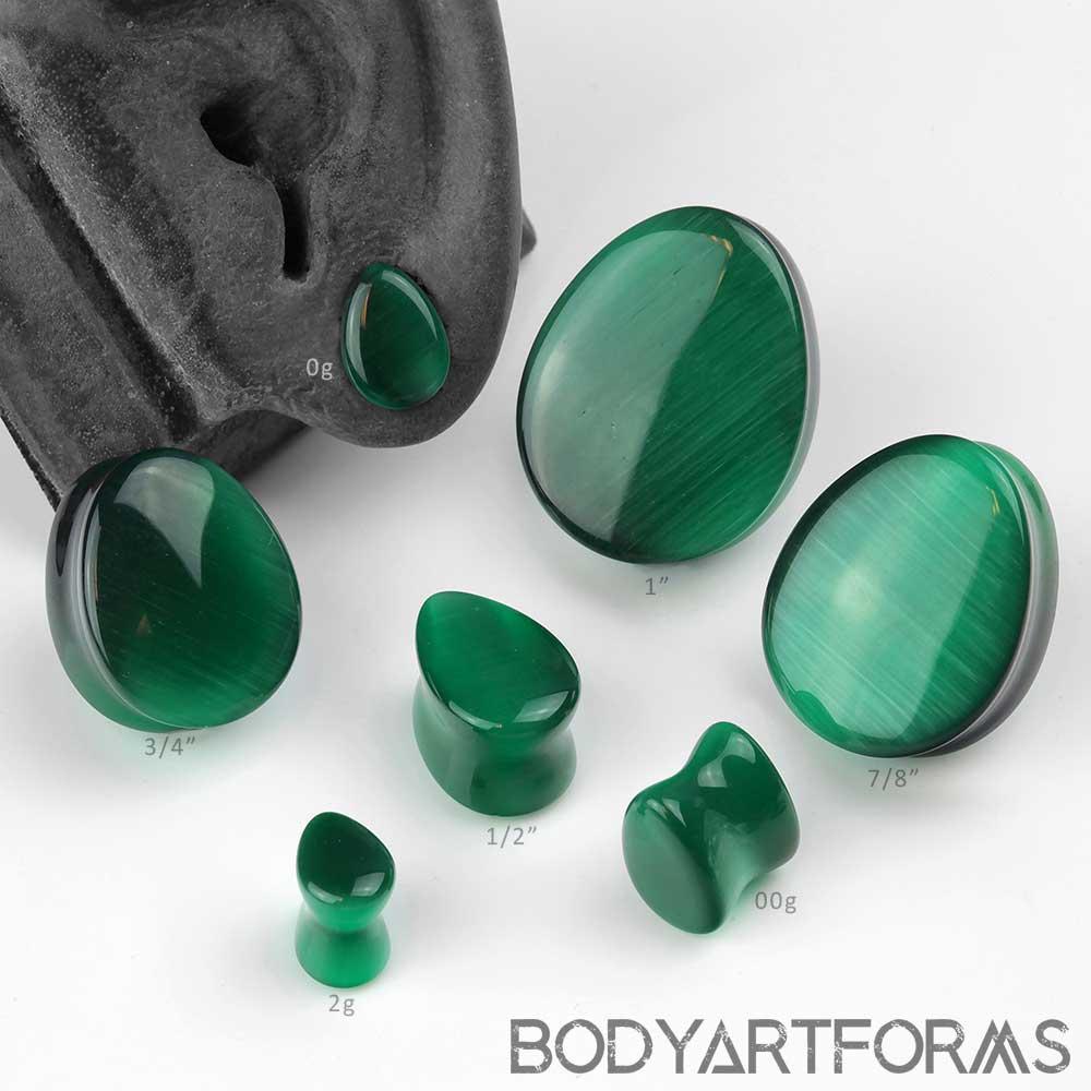 Green Cat Eye Teardrop Plug