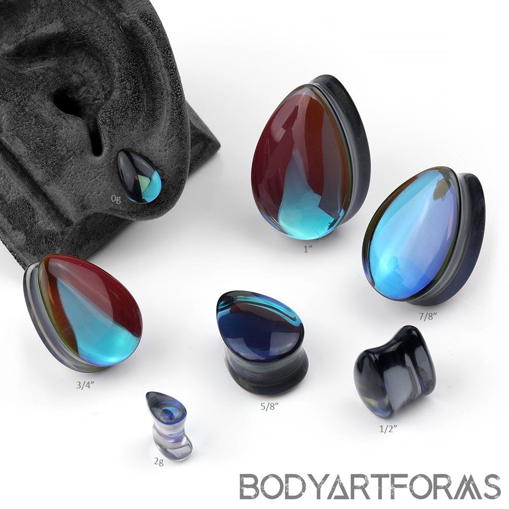 Glass Noir Teardrop Plugs