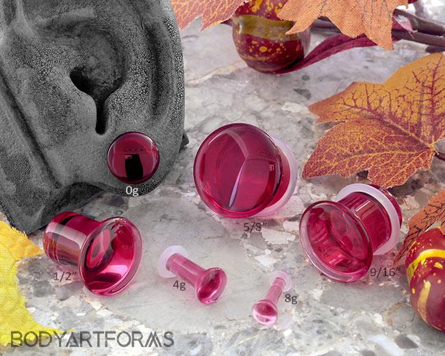 Single Flare Cranberry Glass Plugs