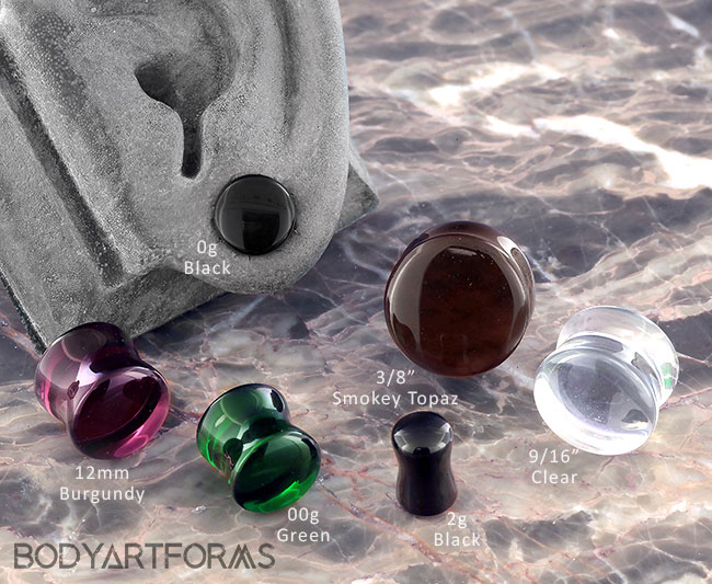 Solid Color Double Flare Glass Plugs