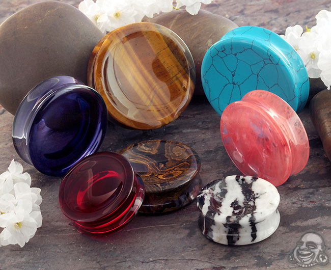 Double Sided Concave Glass and Stone Plugs