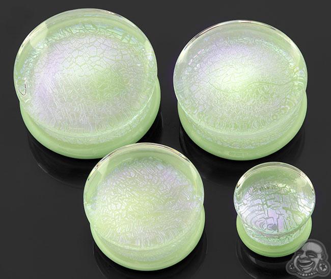 Double Flare Dichroic Foil Plugs (Purple Foil On Mint)