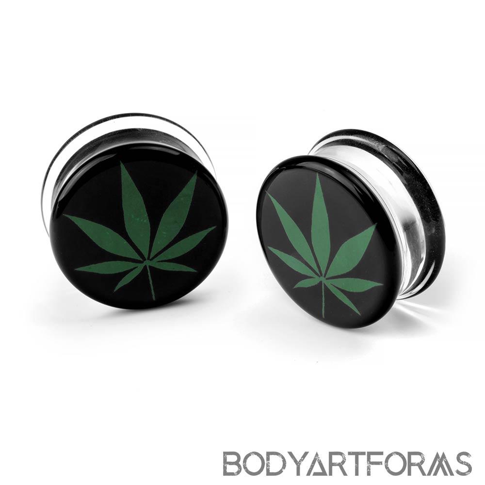 Glass Green Hemp Leaf Image Plug