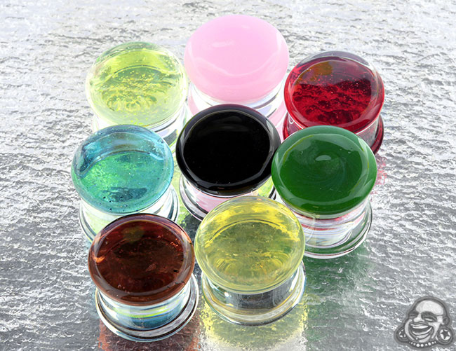 Double Flare Colorfront Glass Plugs