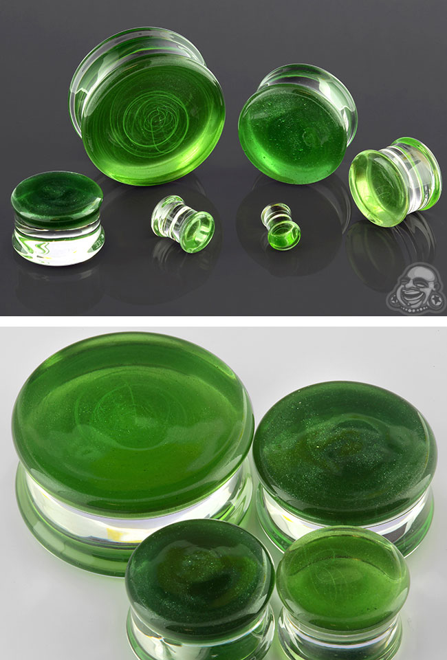 Double Flare Translucent Sparkle Green Colorfront Pyrex Plugs