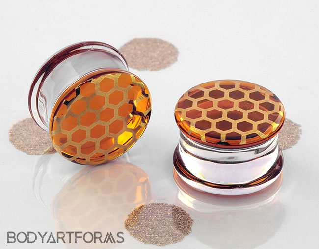 Pyrex Glass Colorfront Plugs (Honeycomb on Honey)