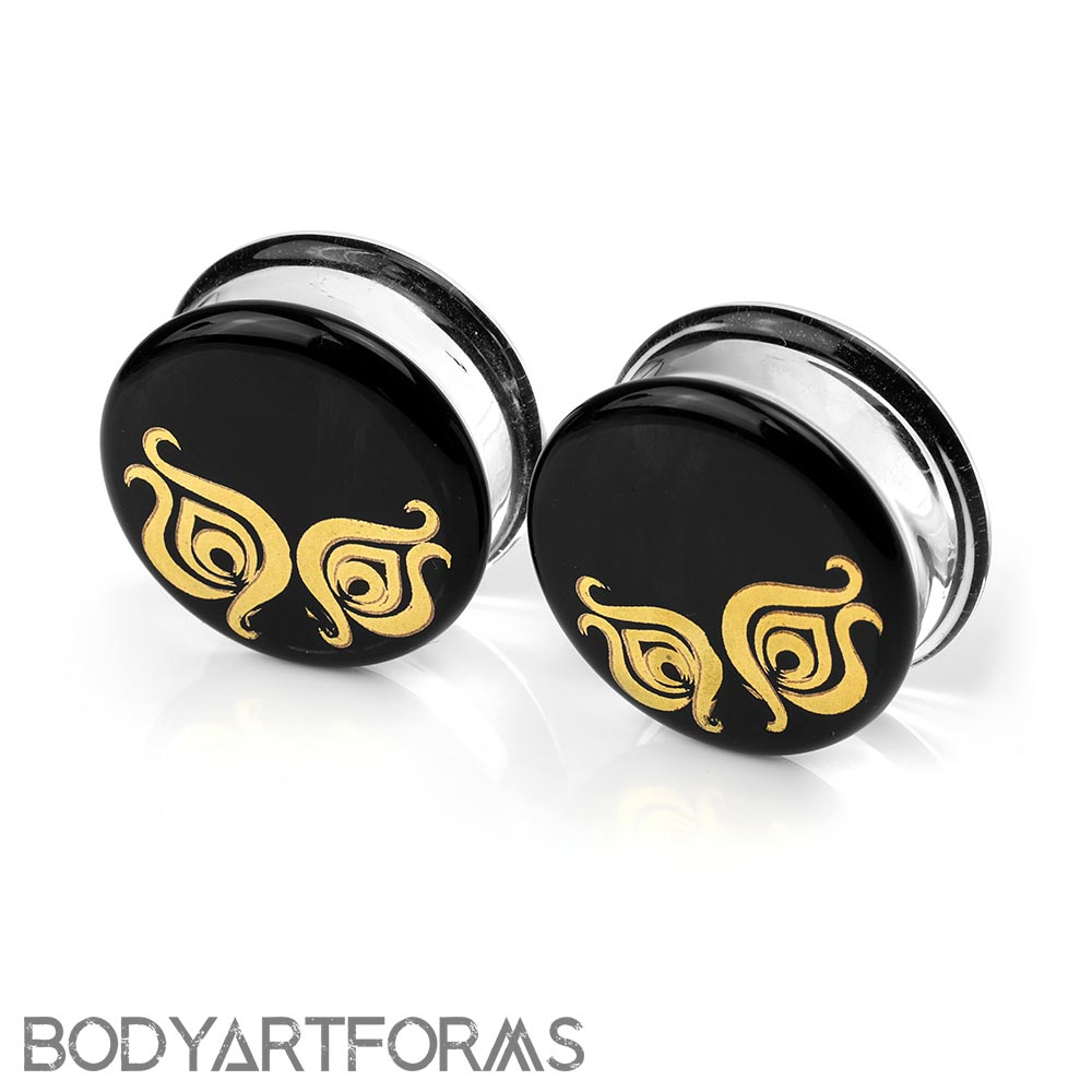 Pyrex Glass Plugs - Flora and Fauna on Black