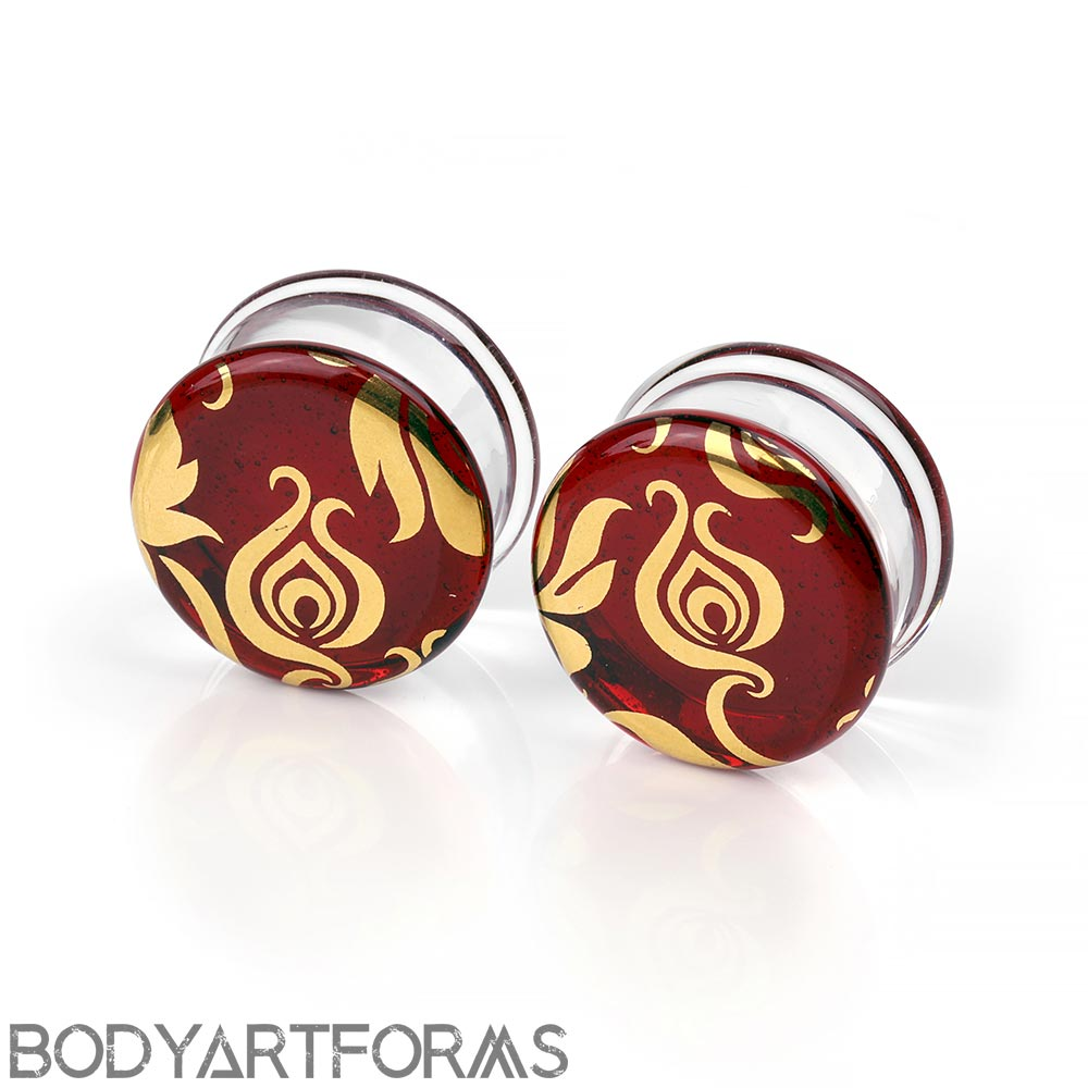Pyrex Glass Colorfront Plugs - Gold Flora and Fauna On Ruby