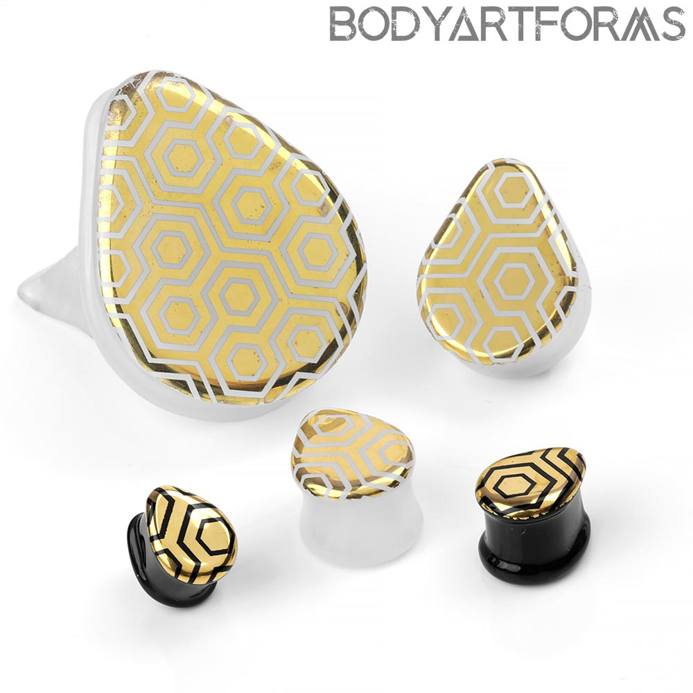 Glass Honeycomb Labyrinth Teardrop Plugs