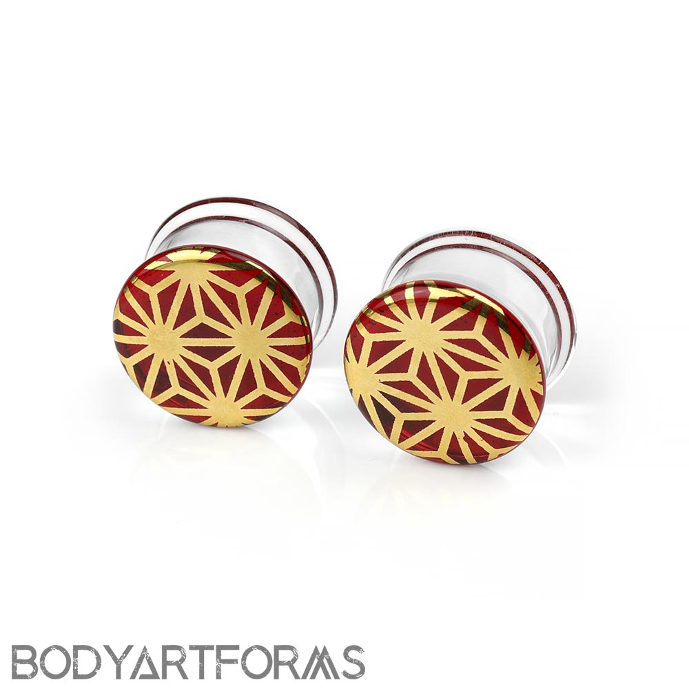 Pyrex Glass Colorfront Plugs - Gold Japanese Star On Ruby