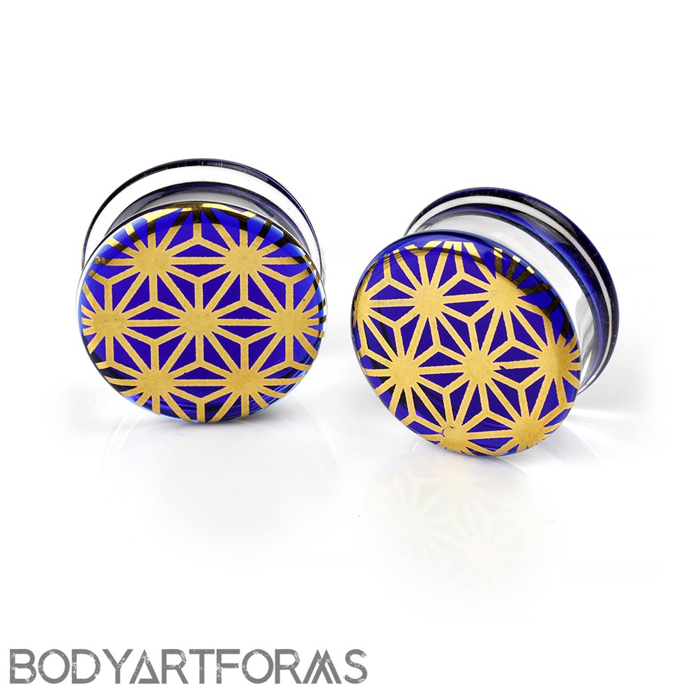 Pyrex Glass Colorfront Plugs - Gold Japanese Star On Cobalt