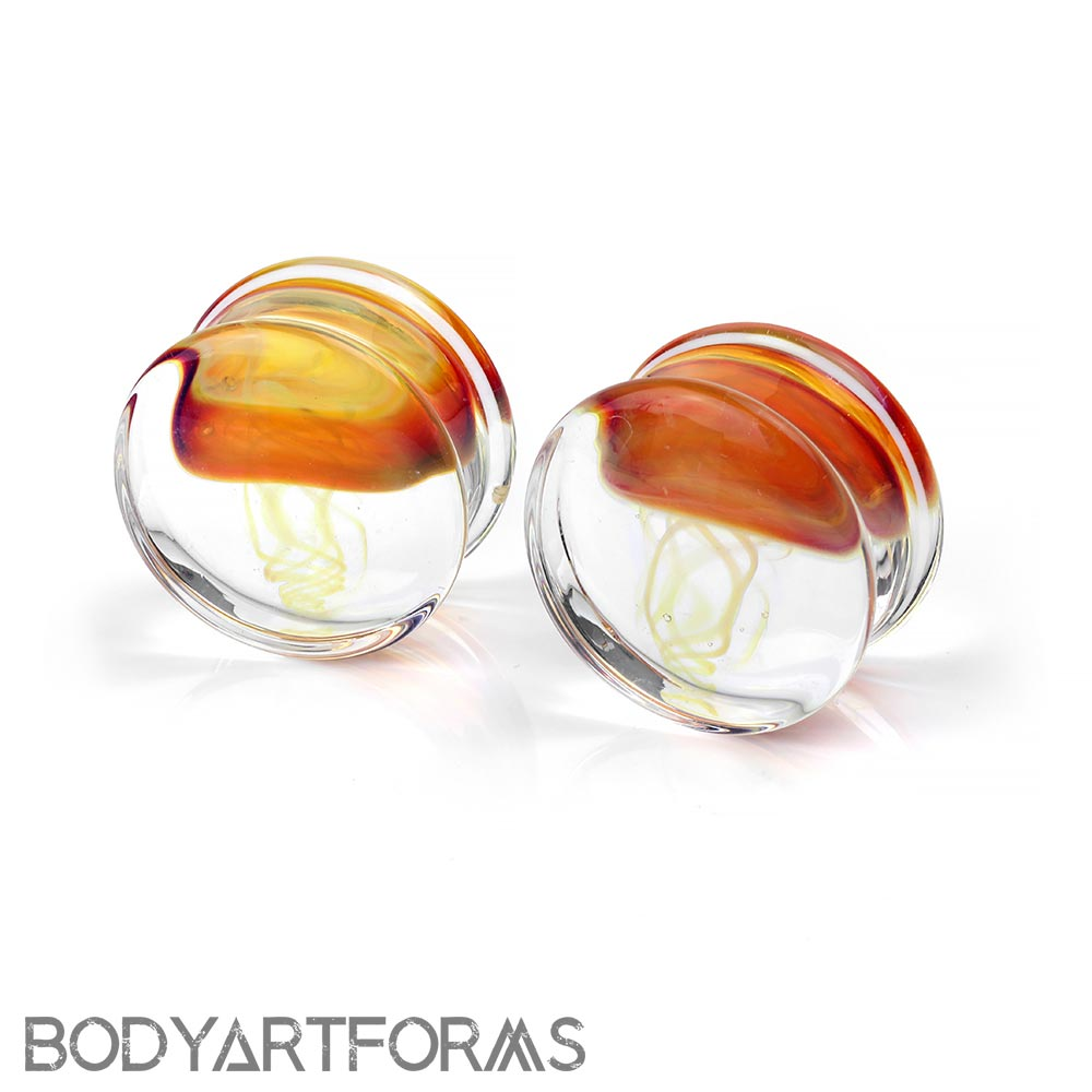 Pyrex Glass Jellyfish Plugs | Amber Purple on Clear