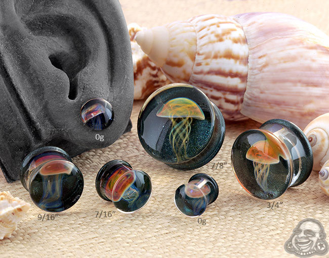 Pyrex Glass Jellyfish Plugs (Amber/Purple On Indigo Sparkle)