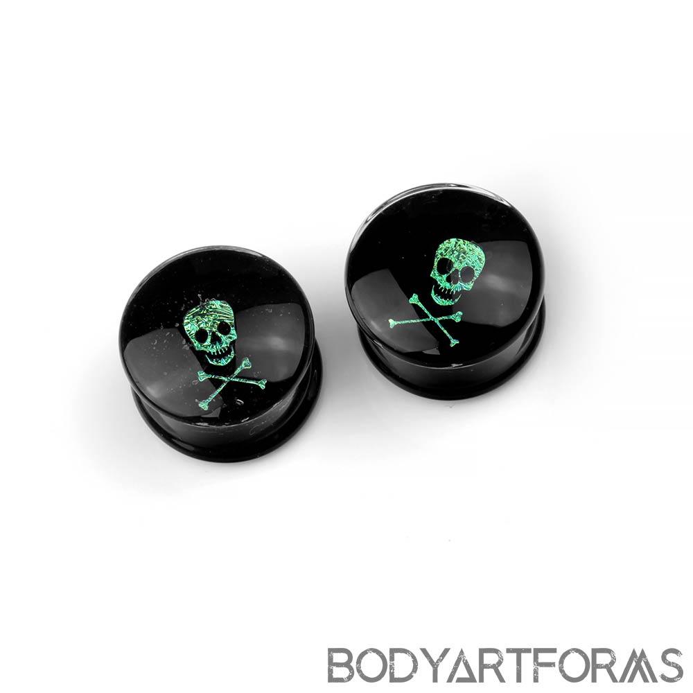 Glass Skull and Crossbones Dichro Image Plugs