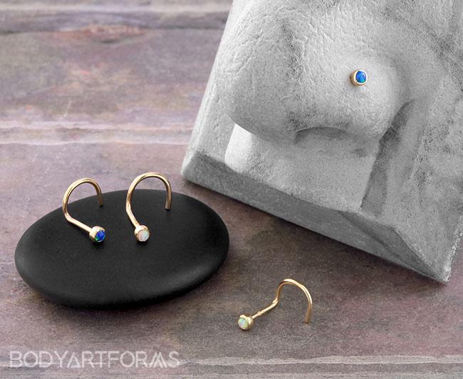 14K Gold Bezel Set Opal Nosescrew