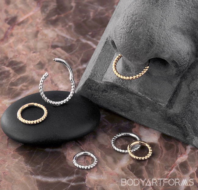 14k Solid Gold Braided Clicker Ring Septum Ring Nose Ring
