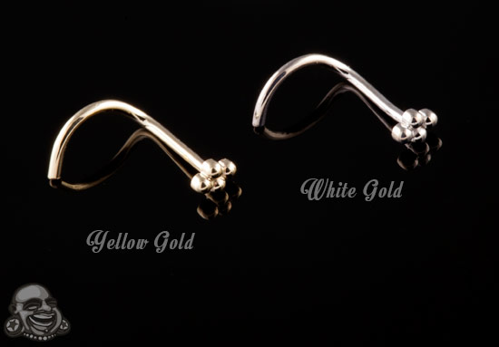 14k Gold 4 Bead Cluster Nosescrew