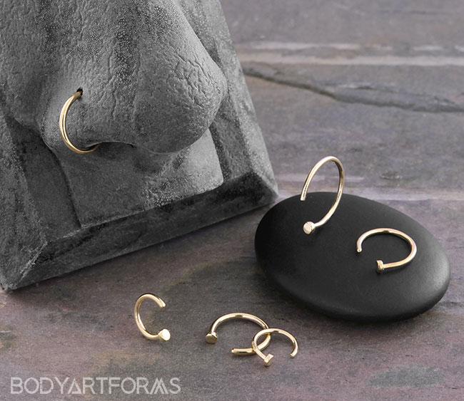14k Gold Disk Nose Hoops