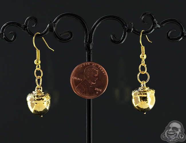 24k Gold Electroplated Acorn Earrings